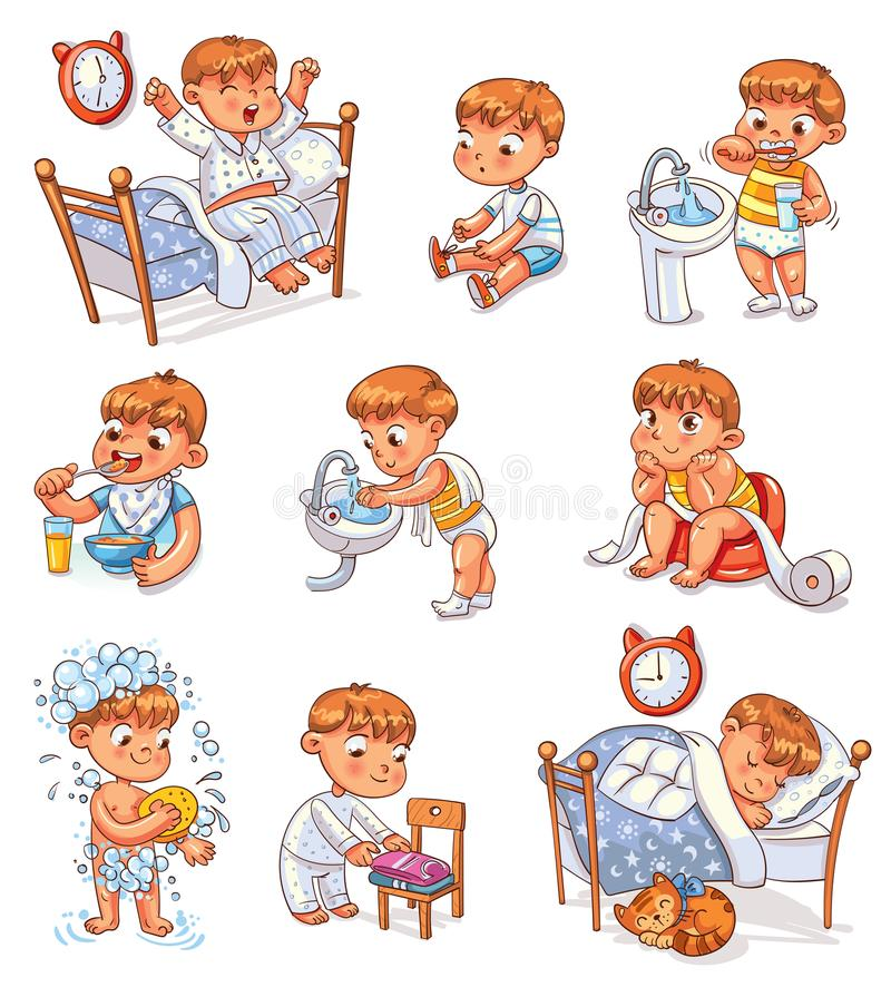 Atividades rotineiras diárias da criança dos desenhos animados ajustadas ilustração royalty free
