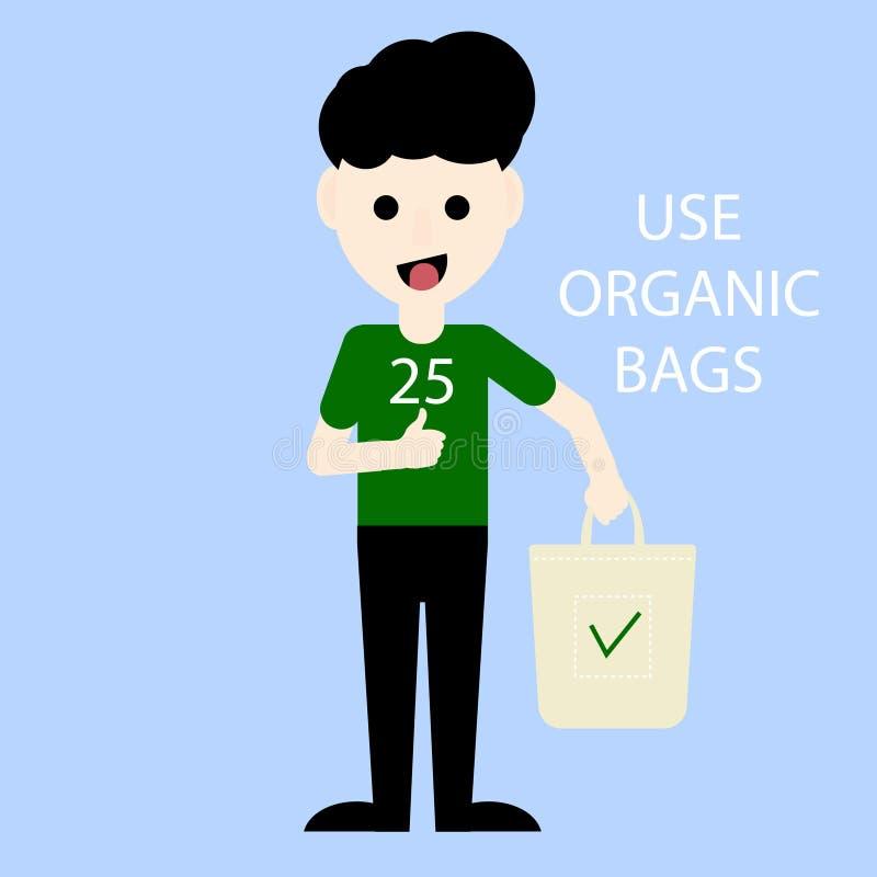 Ativista de Eco que guarda o saco orgânico Protecção ambiental Diga sim e use sacos orgânicos Ilustração do vetor ilustração stock