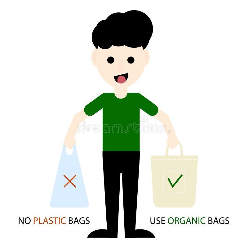 Ativista de Eco que guarda sacos plásticos e orgânicos Protecção ambiental Diga não aos sacos de plástico e use sacos orgânicos V ilustração royalty free