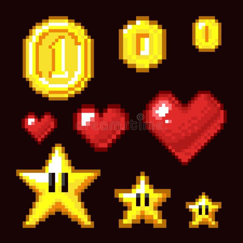 Ativos do bocado do jogo de vídeo 8 isolados Ícones retros da moeda, da estrela e do pixel do coração no tamanho diferente ilustração royalty free
