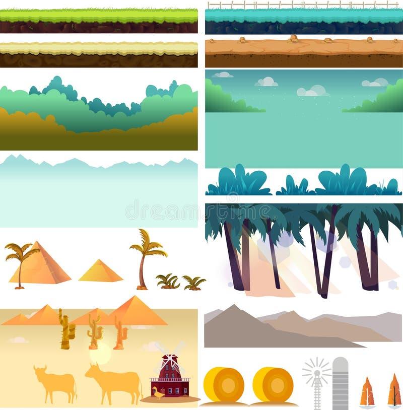 Ativos do jogo de Platformer, grupo de elementos do jogo Elementos para o jogo móvel, 2d aplicação do jogo Ilustração do vetor pa ilustração stock