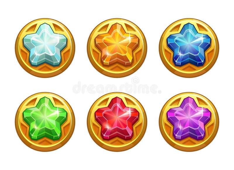 Ativos redondos dourados com as estrelas de cristal coloridas para dentro ilustração royalty free