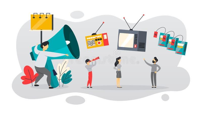 ATL eller ovanför linjen kommunikation med kunden stock illustrationer