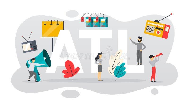 ATL o sobre la línea comunicación con el cliente ilustración del vector