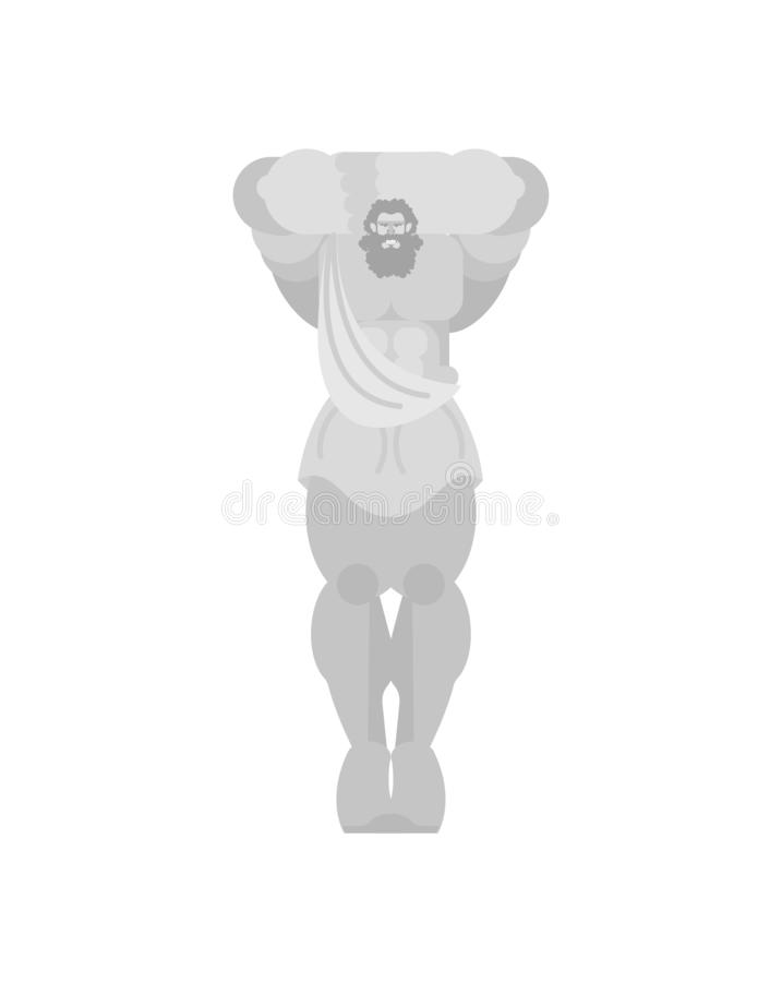 Atlant statue column in building in form of male figure. Ancient Greek roof support royalty free illustration