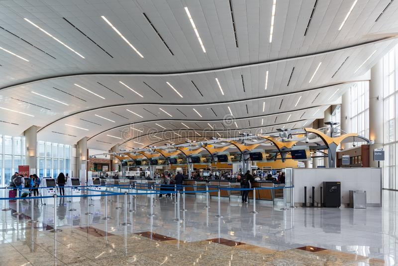 Atlanta Airport ATL International Terminal. Atlanta, Georgia – April 2, 2019: International Terminal at Atlanta Airport ATL in the United States stock photo