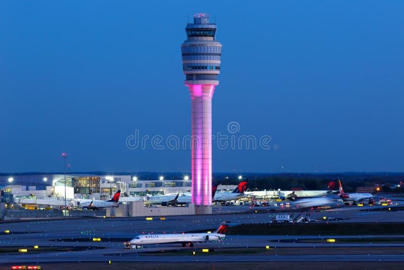 Atlanta Airport ATL Tower. Atlanta, Georgia – April 2, 2019: Tower at Atlanta Airport ATL in the United States stock images