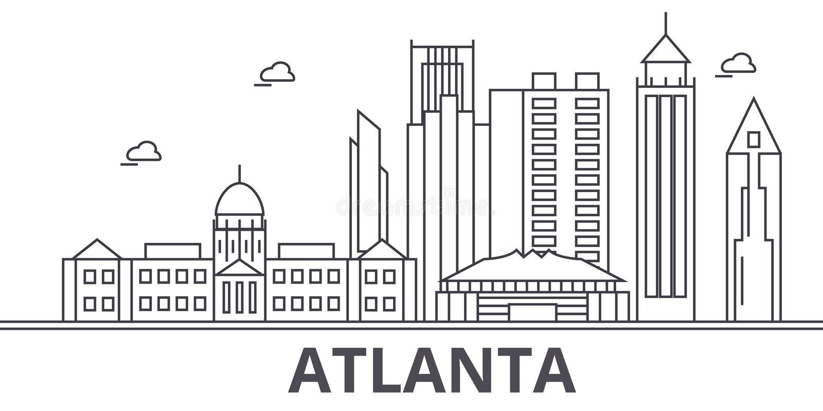 Atlanta architecture line skyline illustration. Linear vector cityscape with famous landmarks, city sights, design icons. Editable strokes vector illustration