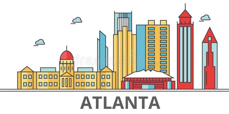 Atlanta city skyline royalty free illustration