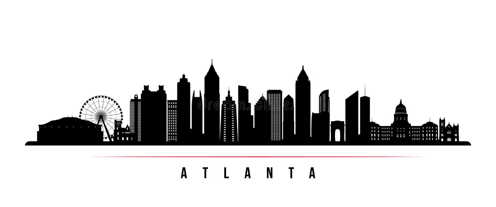 Atlanta city skyline horizontal banner. royalty free illustration