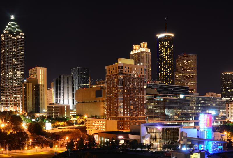 Download Atlanta Cityscape stock image. Image of rises, night - 21306711