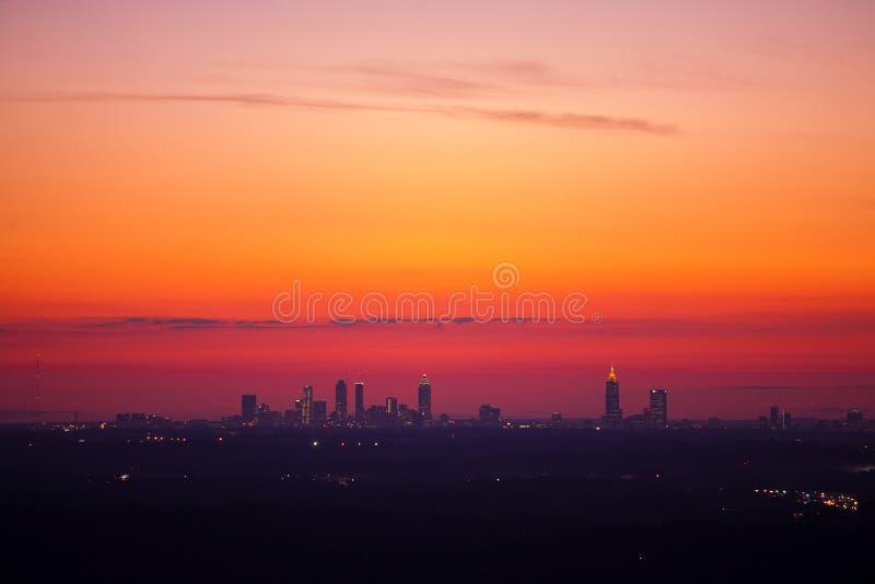 Atlanta del centro al crepuscolo fotografia stock libera da diritti