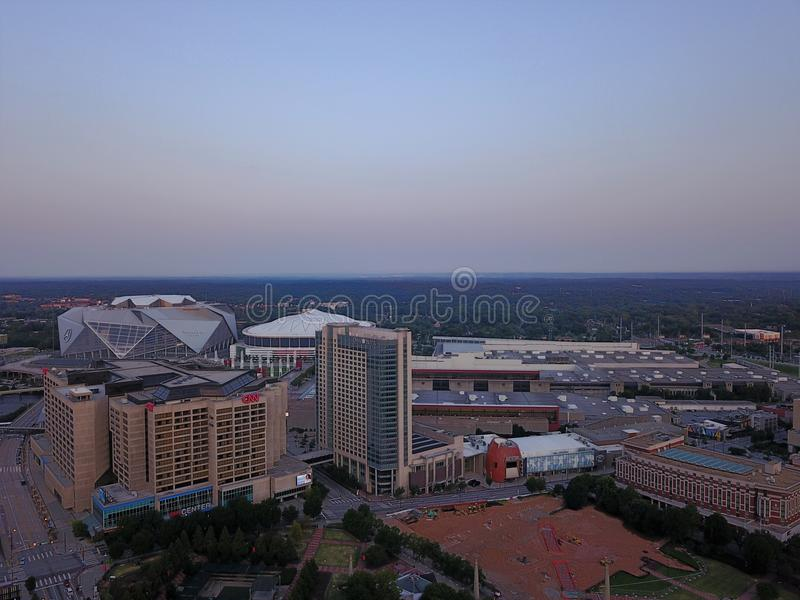Mercedes-Benz Stadium and buildings from above stock image