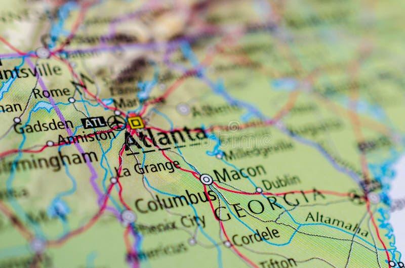 Atlanta en mapa foto de archivo libre de regalías
