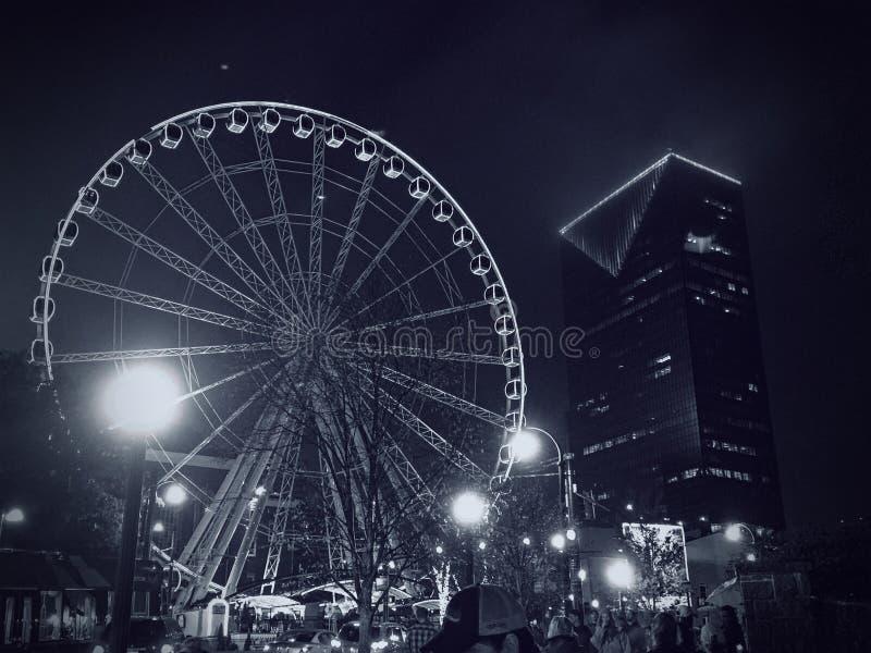 Atlanta Ferris koło Czarny I Biały obraz stock