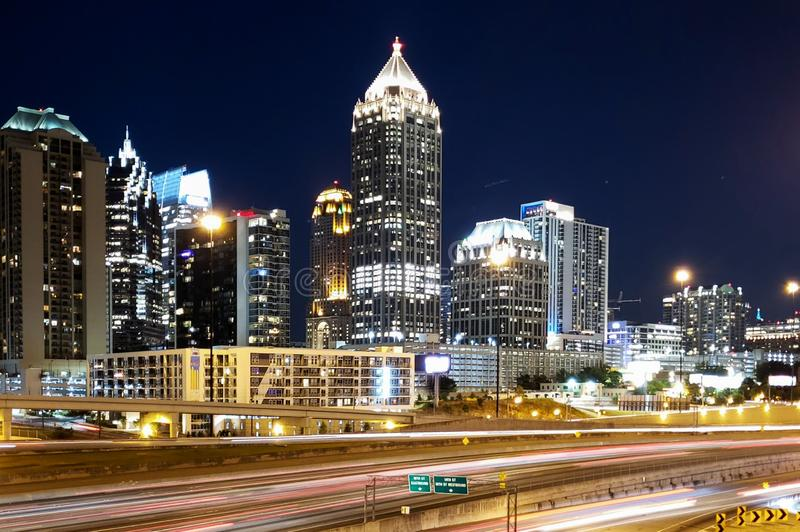 Atlanta GA, 17th street bridge with a slow shutter speed royalty free stock images