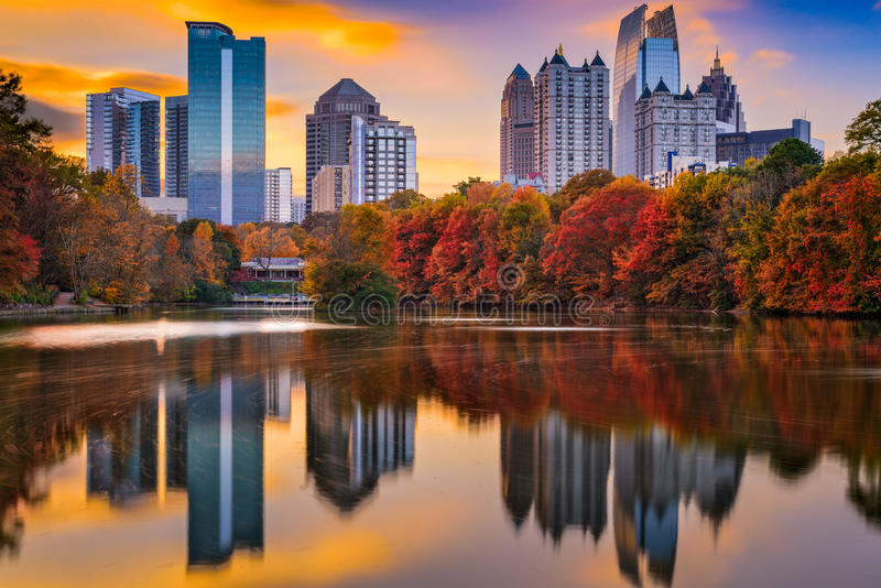 Atlanta Georgia Autumn. Atlanta, Georgia, USA Piedmont Park skyline in autumn stock photography