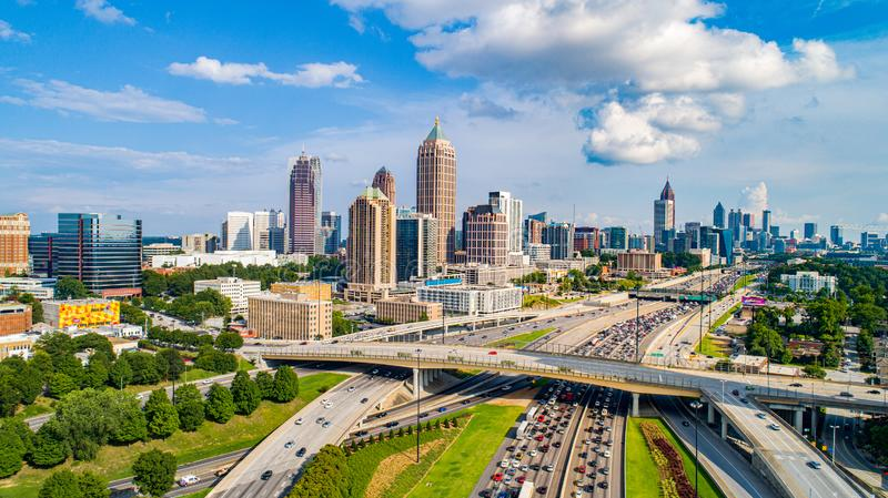 Atlanta Georgia GA Drone Skyline Aerial.  stock photo