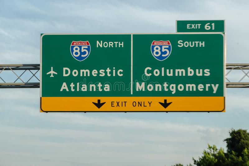 Atlanta Georgia Highway Interstate Signs arkivbild