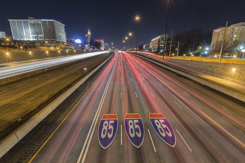 Atlanta Georgia Highway 85 Pavement Signs and Skyline Night stock photos