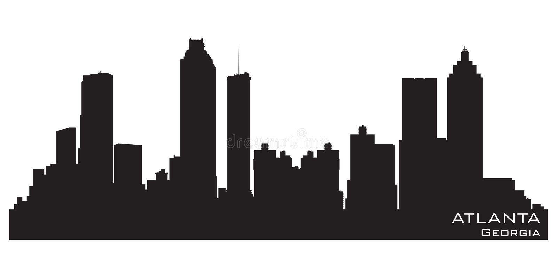 Atlanta Georgia horisont Detaljerad vektorkontur stock illustrationer