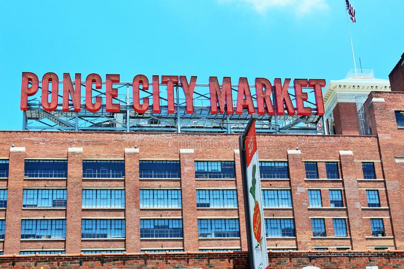 Atlanta, Georgia- June 2018- Ponce City Market sign. royalty free stock image