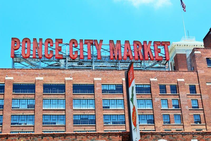 Atlanta Georgia Juni 2018 - tecken för Ponce stadsmarknad royaltyfri bild