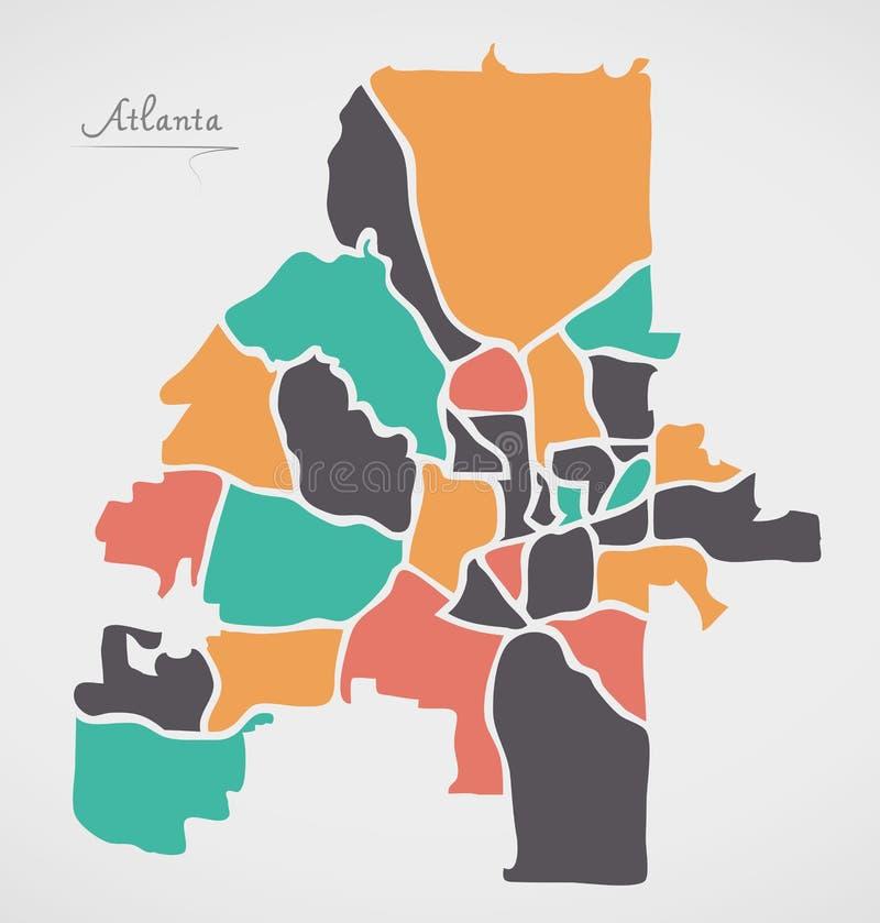Atlanta Georgia Map with neighborhoods and modern round shapes. Illustration royalty free illustration