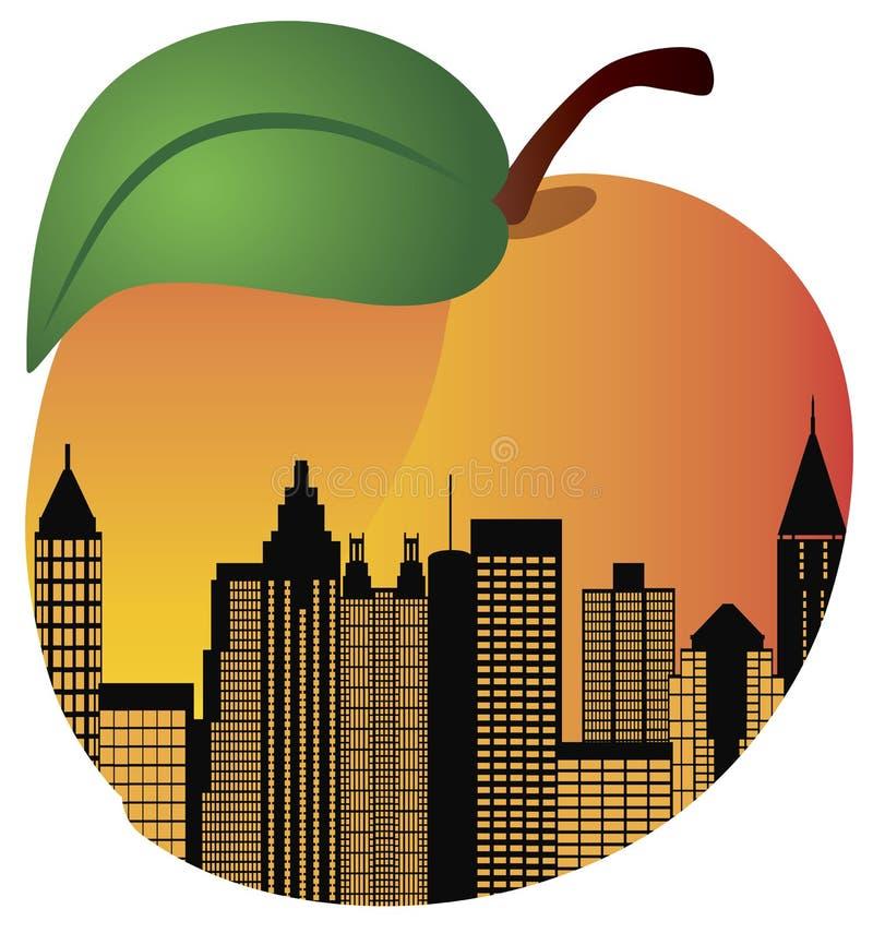 Atlanta Georgia Night Skyline Inside Peach stock illustration