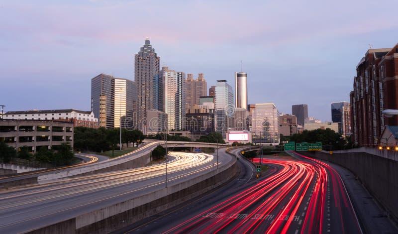 Atlanta Georgia Rush Hour Traffic Dusk Downtown City Skyline stock photo