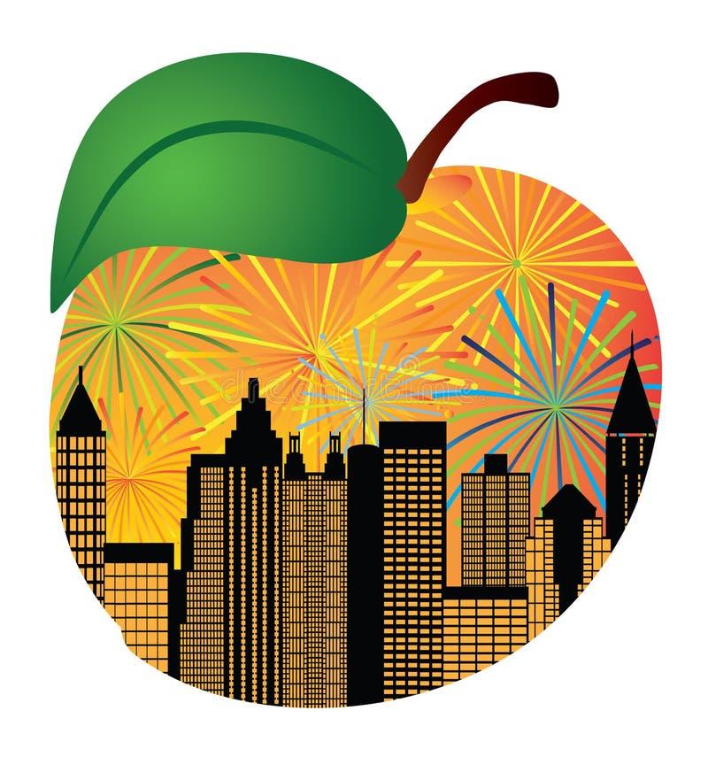 Free Atlanta Georgia Skyline Fireworks Inside Peach Vector Illustration Stock Photos - 123831083