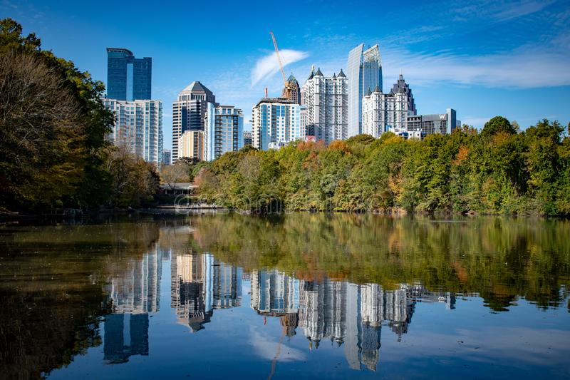 Fall in Piedmont Park. Atlanta Georgia Skyline from Piedmont Park stock image