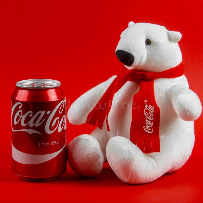 Free Atlanta, Georgia, USA April 1, 2020: Souvenir Polar Bear Coca-Cola Sitting Isolated On Red Background And Coca-Cola Stock Image - 180329351