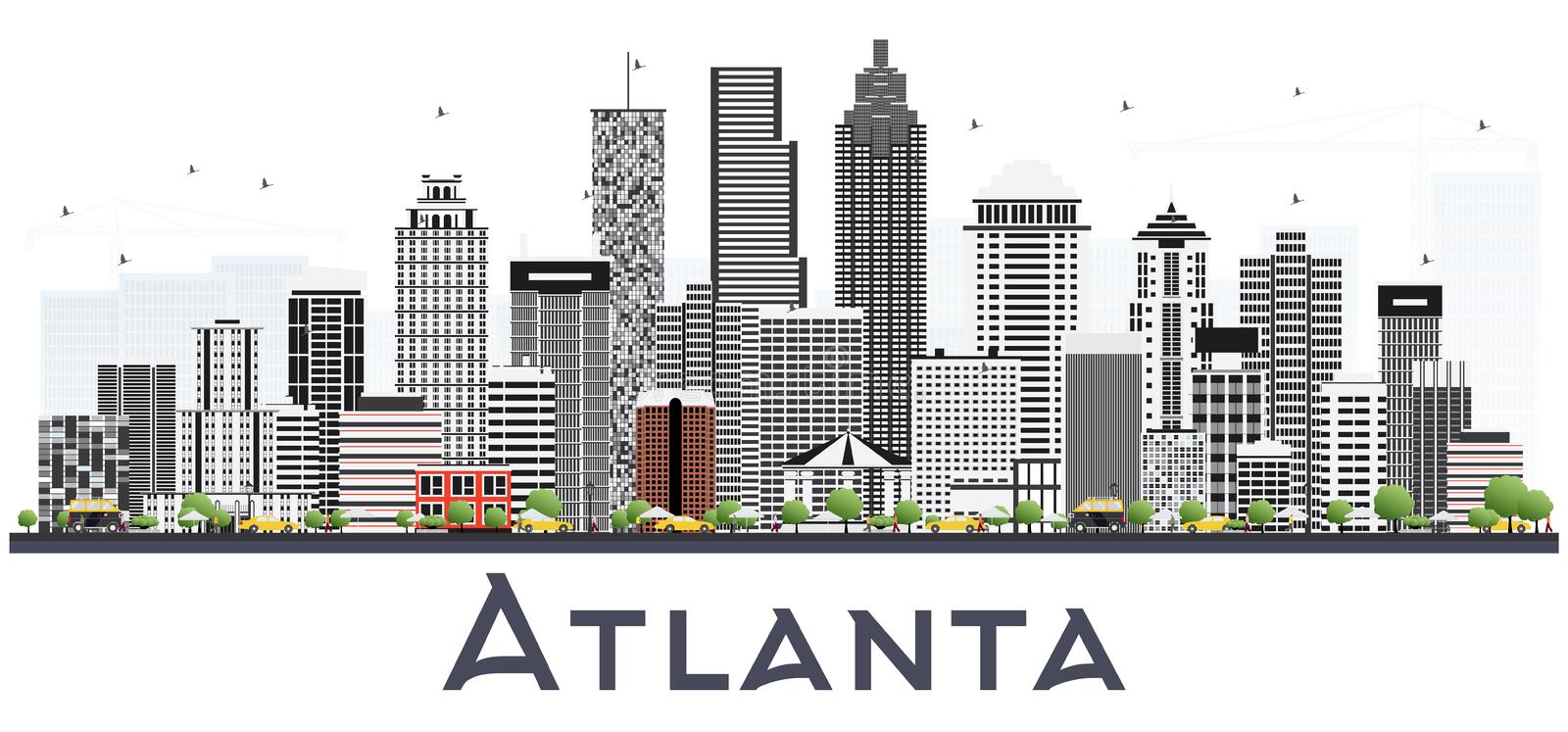 Atlanta Georgia USA City Skyline with Gray Buildings Isolated on. White. Vector Illustration. Business Travel and Tourism Concept with Modern Buildings. Atlanta vector illustration