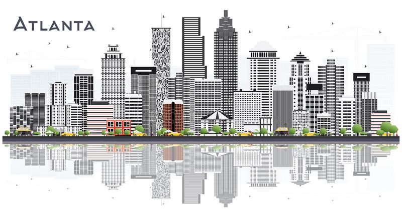 Atlanta Georgia USA City Skyline with Gray Buildings Isolated on White. Vector Illustration. Business Travel and Tourism Concept with Modern Buildings. Atlanta stock illustration