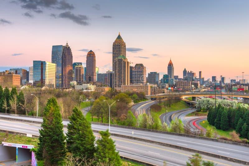 Atlanta, Georgia, USA downtown city skyline over highways stock image