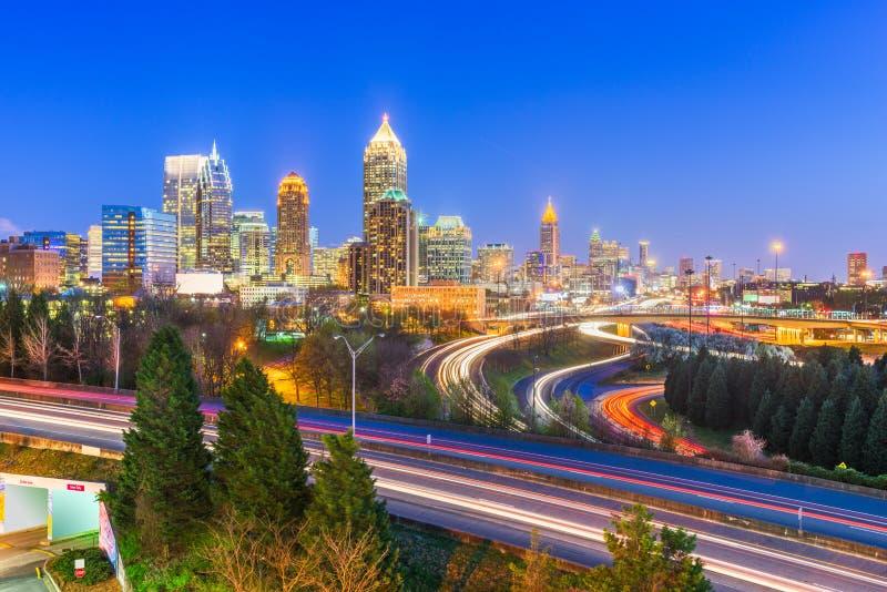 Atlanta, Georgia, USA downtown city skyline over highways royalty free stock photo