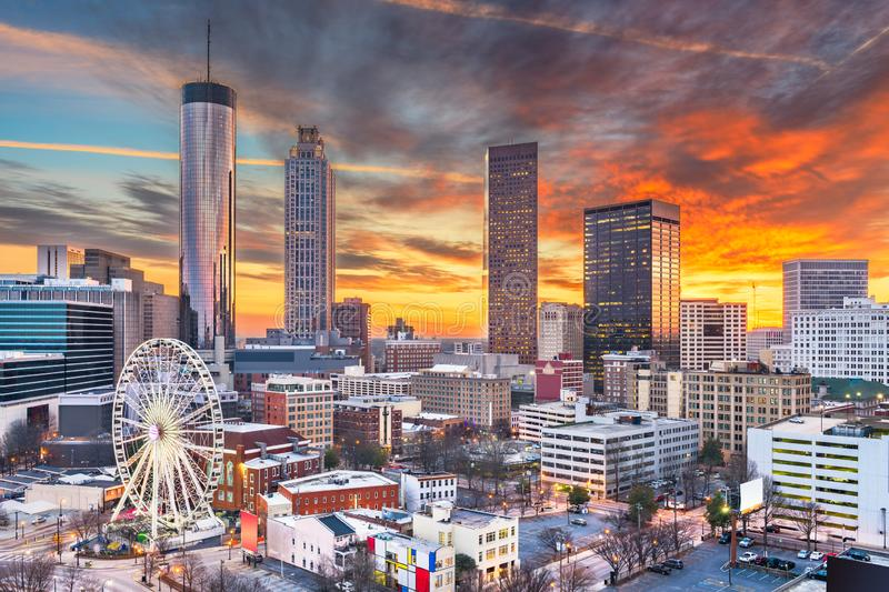 Atlanta, Georgia, USA Downtown Skyline. At dawn stock photography