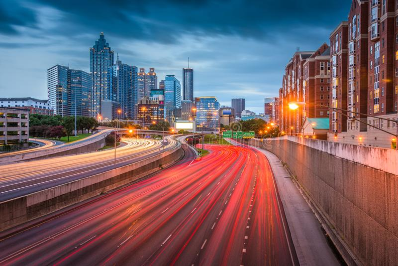 Atlanta, Georgia, USA downtown skyline over the highways stock photos