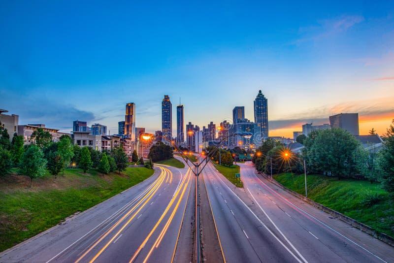 Atlanta Georgia, USA i stadens centrum cityscape fotografering för bildbyråer