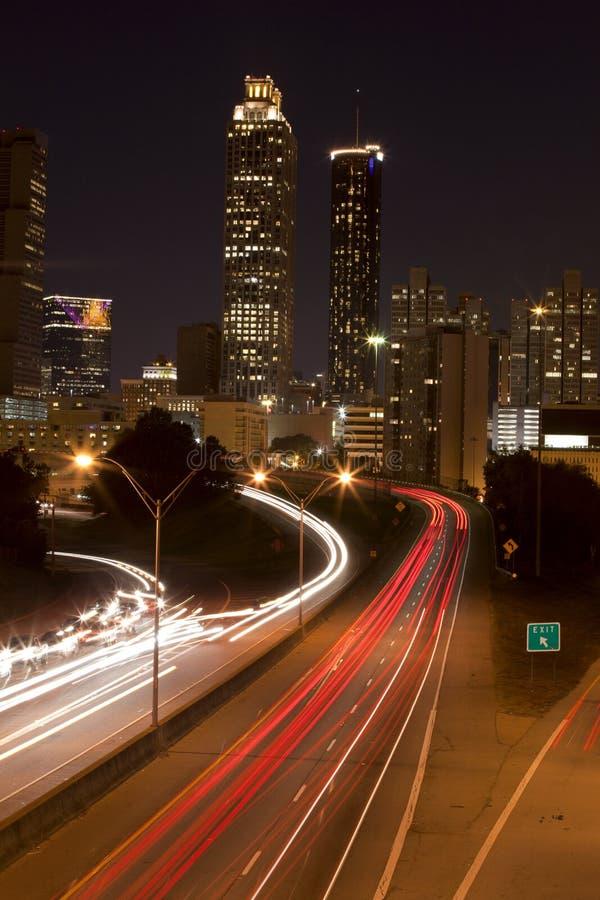 Atlanta Georgis Commute. View of the skyline of Atlanta Georgia and the evening commute stock image