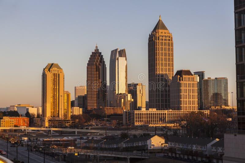 Atlanta Gruzja linii horyzontu zmierzch fotografia stock