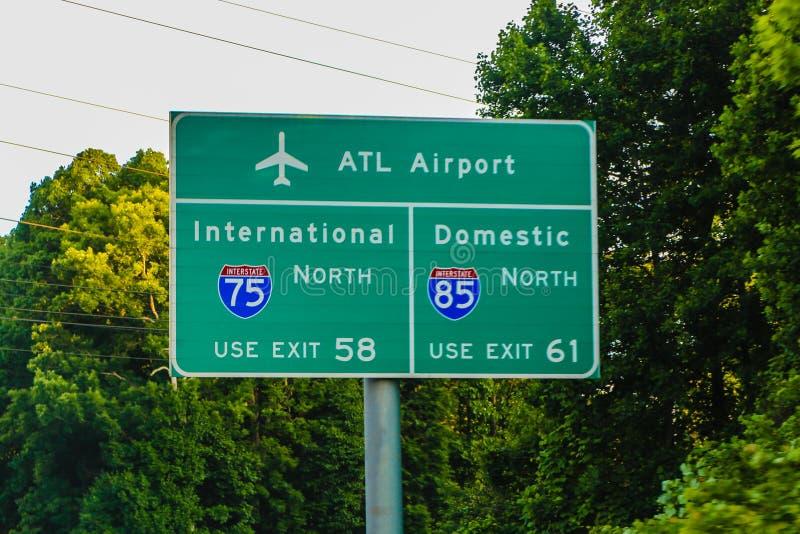 Atlanta Gruzja Lotniskowy Mi?dzystanowy Kierunkowy znak zdjęcia royalty free