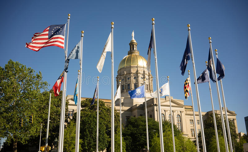 Atlanta Gruzja stolicy kraju kopuły miasta Złocista architektura obrazy royalty free