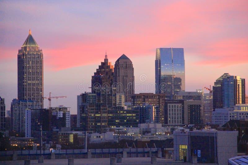 Atlanta, Gruzja, zmierzch linia horyzontu zdjęcie royalty free