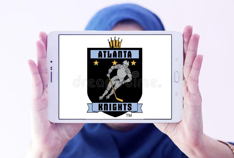 The Atlanta Knights ice hockey team logo. Logo of The Atlanta Knights club on samsung tablet holded by arab muslim woman. The Atlanta Knights was a minor league stock photo