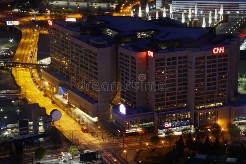 Atlanta - matrizes Center do mundo do CNN na noite fotografia de stock royalty free