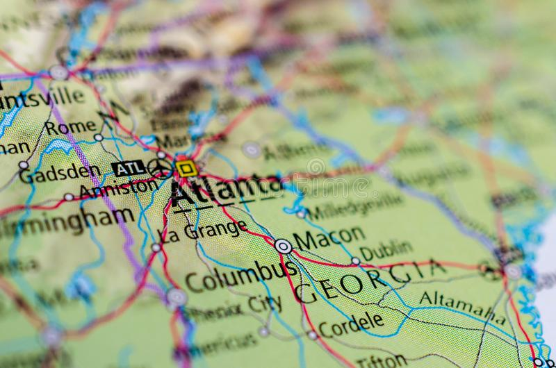 Atlanta på översikt royaltyfri foto