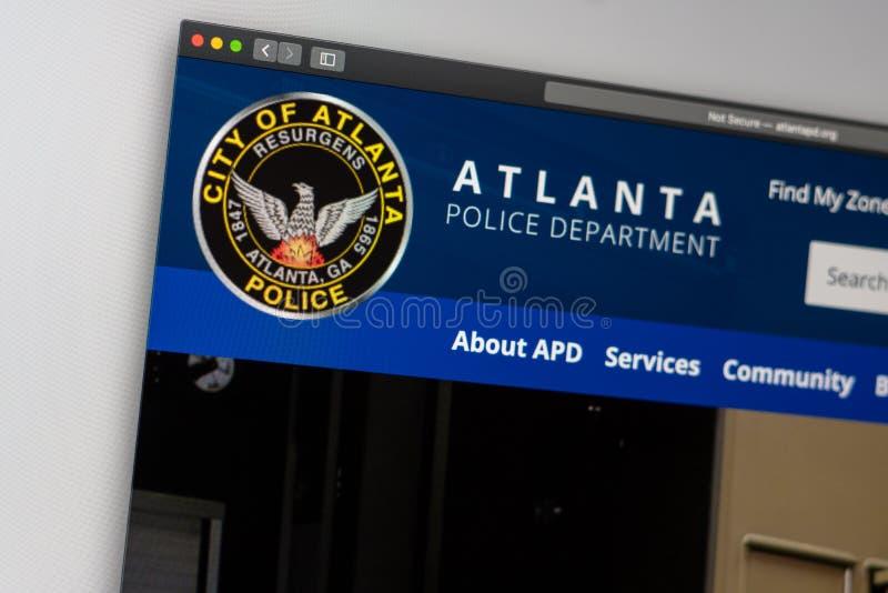 Atlanta Police Department website homepage. Close up of APD logo. Miami / USA - 05.11.2019: Atlanta Police Department website homepage. Close up of APD logo royalty free stock images
