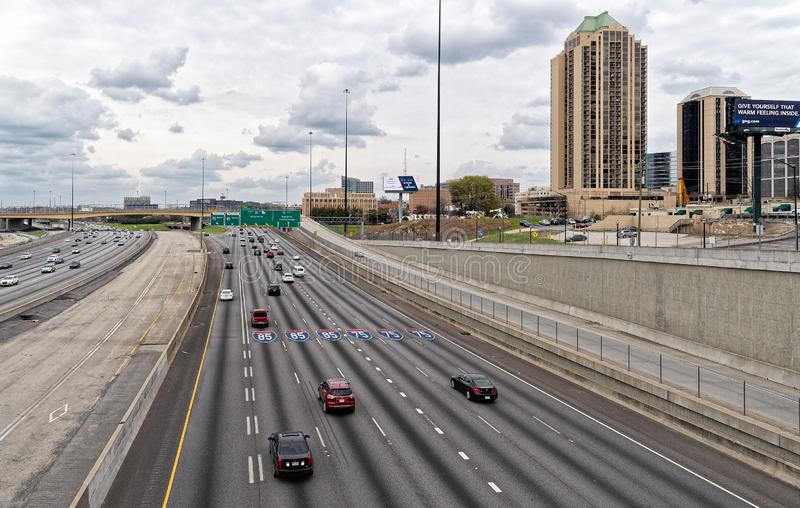 Atlanta`s Interstate 75 and 85 Interchange royalty free stock photo